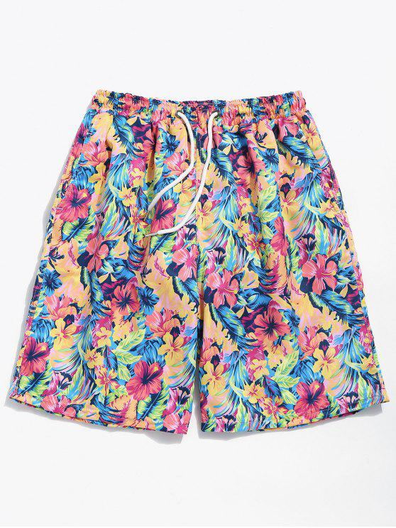 best Summer Flowers Print Drawstring Board Shorts - WATERMELON PINK M