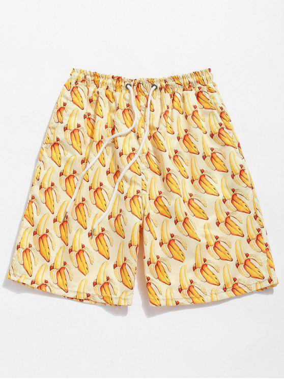 Pantalones cortos con estampado de cordones con estampado de banana - Amarillo de Sol  XL