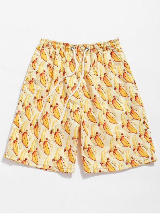 Bananen Druck Kordelzug Strand Shorts - Sonne Gelb M