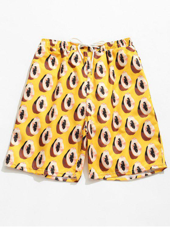 fashion Pocket Papayas Print Board Shorts - YELLOW L