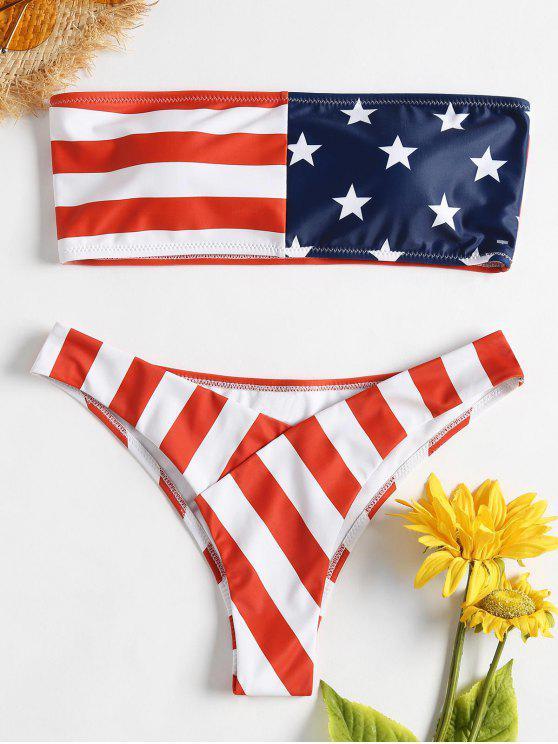 fashion American Flag Tube Bikini - LOVE RED M