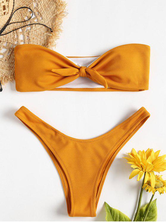 womens Bowknot Textured Bandeau Bikini Set - SCHOOL BUS YELLOW S