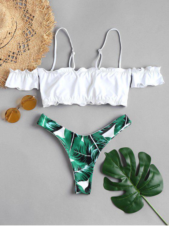 hot Lettuce Off The Shoulder Bikini Set - MEDIUM FOREST GREEN M