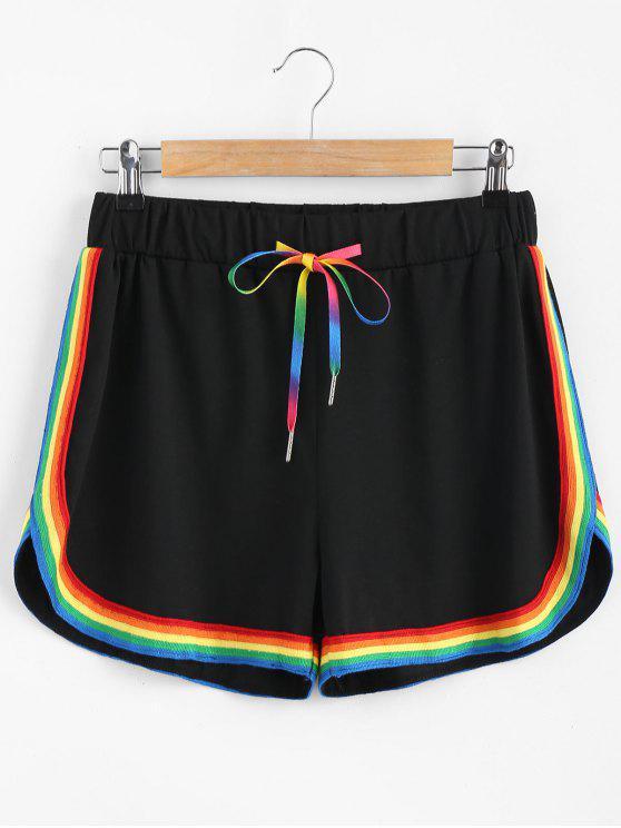 Pantalones cortos deportivos rayas de colores - Negro L