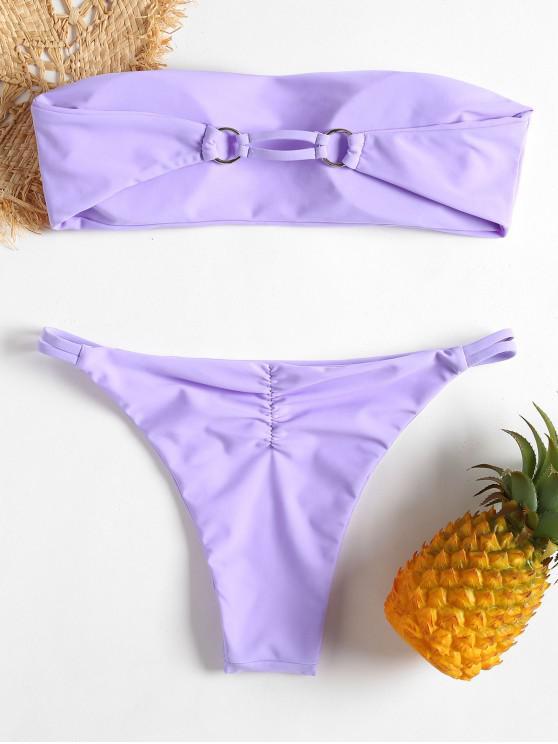 Bikini A Fascia Con Stringhe - Mauve L