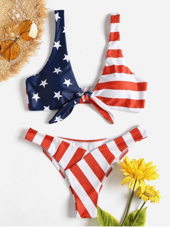 latest Knot American Flag Bikini - LOVE RED L