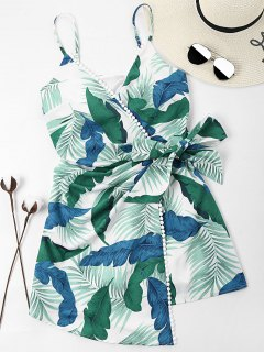 Leaves Print Overlap Dress - Light Sea Green L