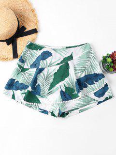 Leaves Print Crochet Trim Shorts - Light Sea Green L