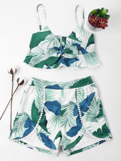 Leaves Print Cami Shorts Set - Light Sea Green M
