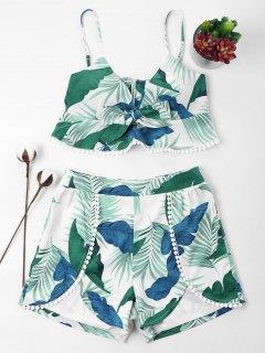Leaves Print Cami Shorts Set - Light Sea Green L