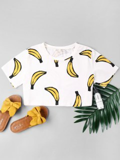 Banana Print Crop Tee - Milk White Xl
