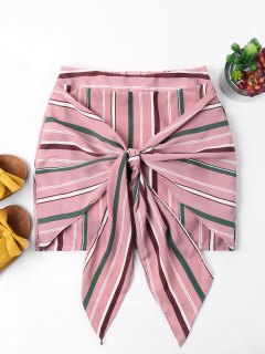 Striped Knotted Skirt - Light Pink Xl