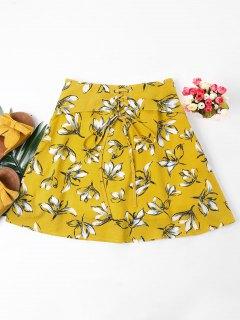 Falda Con Cordones De Estampado Floral - Marrón Dorado S