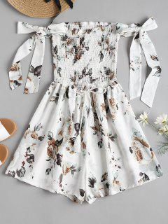 Tie Sleeve Floral Smocked Cute Romper - White Xl