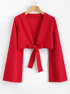 Tie Front Bell Sleeve Plunge Crop Top - Love Red L