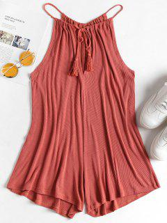 Keyhole Tasseled Romper - Light Coral L