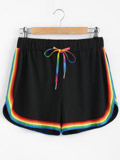 Sporty Colorful Stripes Shorts - Black M