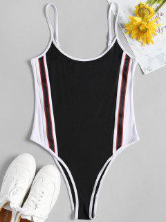 Stripes Panel Slip Bodysuit - Black M
