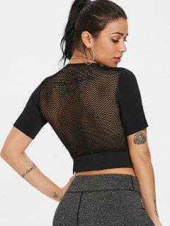 Mesh Back Seamless Gym T Shirt - Black L