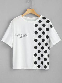 Dotted Letter Panel T Shirt - White L