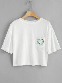 Floral Embroidered T Shirt With Pocket - White M