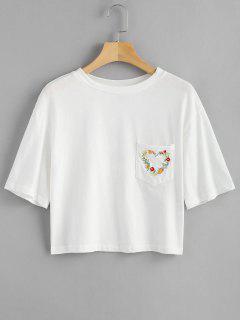 Camiseta Bordada Floral Con Bolsillo - Blanco S