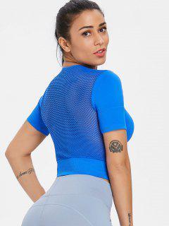 Mesh Back Seamless Gym T Shirt - Royal Blue M