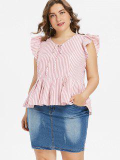 Plus Größe Rüschen Gestreifte Bluse - Pink 4x