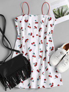 Cherry Print Apron Cami Sundress - White S
