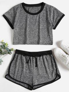 Contrasting Binding Crop Top Shorts Tracksuit - Dark Gray M