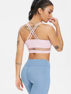 Cut Out Strappy Sports Bra - Light Pink L