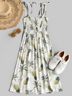 Robe Smockée à Ananas à Bretelles - Blanc L
