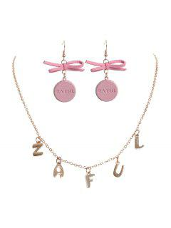 Anniversary Cap Earrings Charm Necklace - Multi
