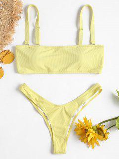 Ribbed Bandeau Bikini Set - Cream M