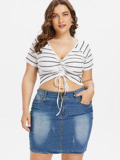 Plus Size Stripe Plunge Crop Tee - White 1x
