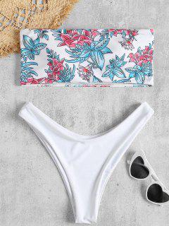Flower High Leg Bandeau Bikini Set - White M