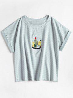 Striped Cactas Embroidered Tee - Columbia Blue