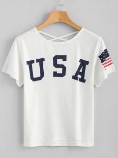 T-shirt Imprimé De Drapeau Américain Et Cordons Croisés Au Col  - Blanc M