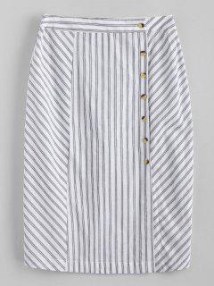 Side Button Stripes Midi Skirt - White L