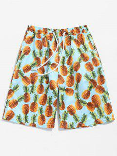 Back Flap Pocket Pineapple Print Beach Shorts - Blue Zircon Xl