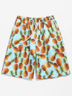 Back Flap Pocket Pineapple Print Beach Shorts - Blue Zircon L