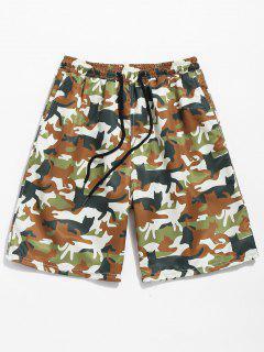 Drawstring Camo Print Pockets Beach Shorts - Camouflage Green S