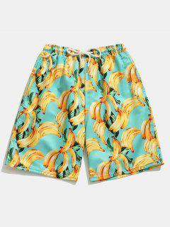 Pocket Banana Printed Board Shorts - Blue Zircon L
