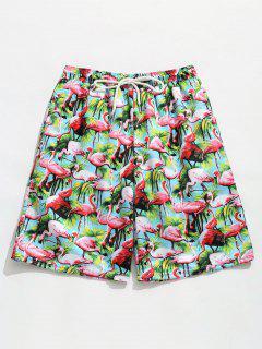 Elastic Drawstring Waist Flamingo Print  Beach Shorts - Macaw Blue Green S
