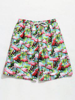 Elastic Drawstring Waist Flamingo Print  Beach Shorts - Macaw Blue Green L