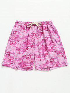 Camouflage Cargo Pocket Beach Shorts - Hot Pink L