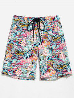 Pocket Butterfly Printed Board Shorts - Pink Daisy L