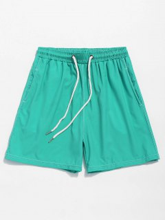 Solid Color Elastic Wasit Beach Shorts - Macaw Blue Green M