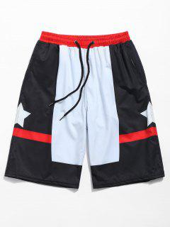 Start Printed Color Block Board Shorts - Black M