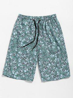 US Dollars Print Board Shorts - Beetle Green S